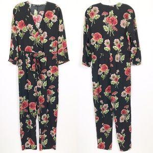 Zara Basic Collection Black Floral Jumpsuit